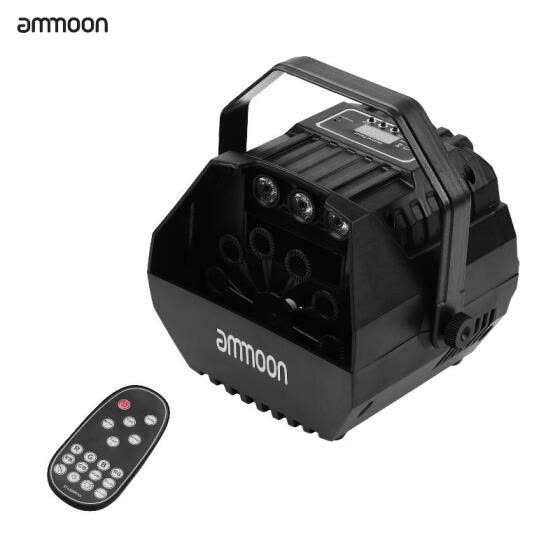 ammoon LED Bubble Machine Projector Sound Activated with U-shape Handle Remote Control for Stage Wedding Decoration