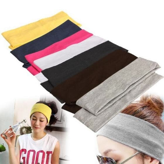 Women Sports Gym Stretchy Headband Stretch Cotton Hairband For Yoga Running