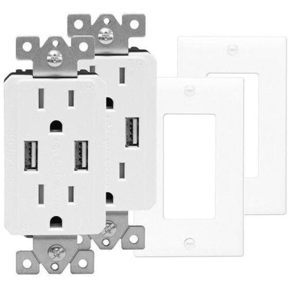 TOPGREENER Electrical Wall Outlet with USB Charger 15A Receptacle White - 1 Pack