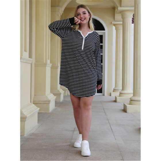 Long sleeve loose t-shirt skirt with striped v-neck and shoulder, large-size patchwork straight tube dress
