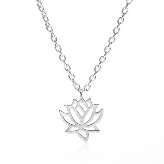 Women Hollow Lotus Flower Charm Necklace Pendant Chain Gold Silver Jewelry Gift