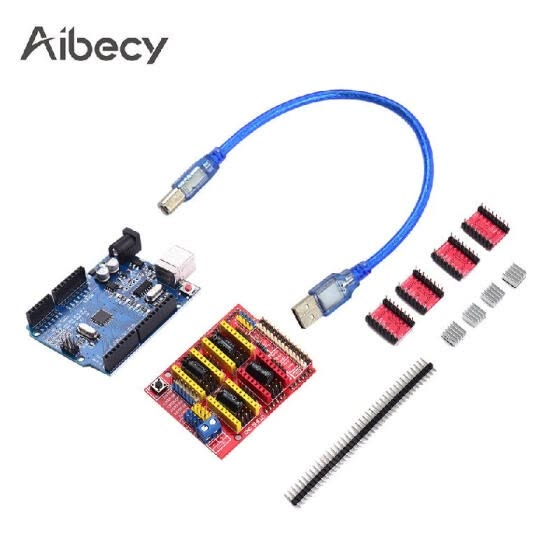 Aibecy 3D Printer Accessories CNC Shield R3 Board A4988 Driver Kit With Heat Sink For Engraver 3D Printer