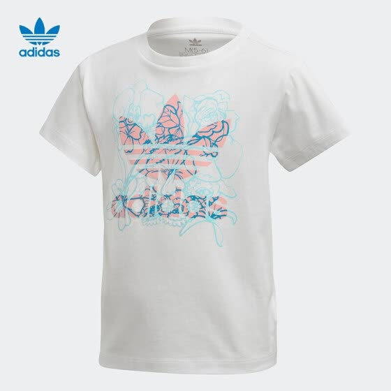 adidas Adidas Clover Short Sleeve Top 2020 Summer Girls Classic Training Sports T-shirt FM4897 White 104/Recommended Height 104cm