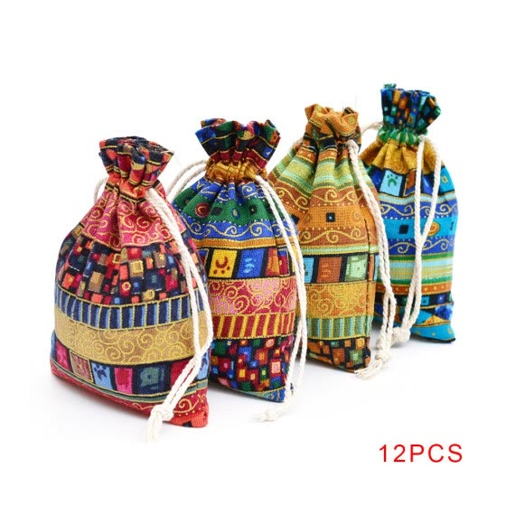 Worallymy 12pcs Ethnic Style Drawstring Gift Bag Cotton Reusable Jewelry Coin Pouches Candy Wedding Party Travel Purse