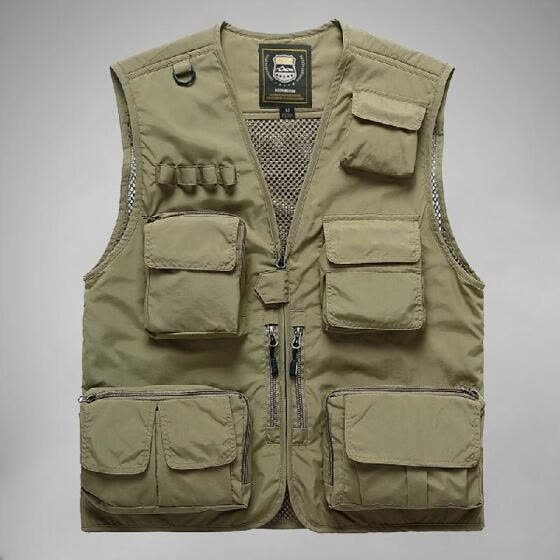 Men Vest Mesh Jackets with Pockets V-Neck Sleeveless Outdoor Work Fishing Photo Camping