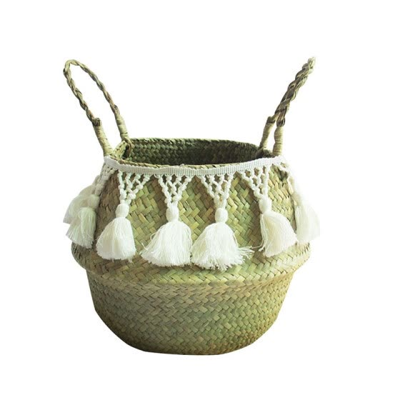 10 Style Natural Seagrass Woven Storage Basket Pot Garden Flower Vase Plant Wicker Basket Household With Handle Storage Baskets