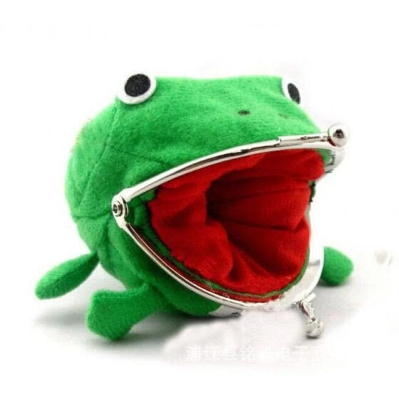Cartoon Frog Coin Purse Wallet Anime Manga Shape Fluff Clutch Cosplay Green