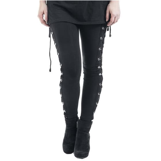 Women Fashion Gothic Lady Side Lace Up Leggings Black Skinny Pans Trousers