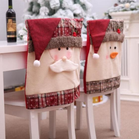Christmas Chair Covers Red Burlap Plaid Chair Back Cover Mr Santa Chair Slipcover Decoration for Xmas