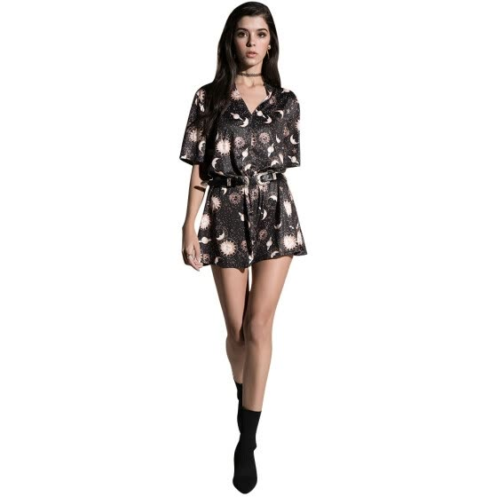 Vintage Women Mini Loose Dress Short Sleeves V-Neck Moon Planet Print Casual Straight T-Shirt Dresses Black