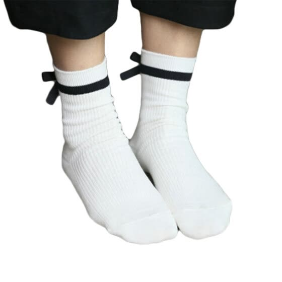 Preppy Style Cotton Lined Bowknot Girl's Socks Mid Length Cotton socks(White)