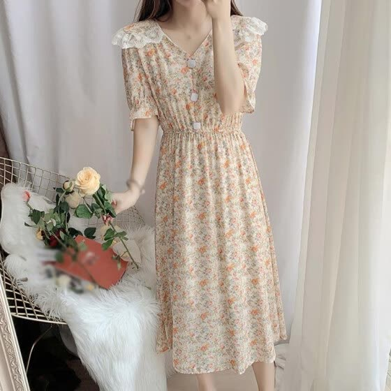 Korean Dress Floral Peter Pan Collar Lace Dresses Fashion Slim Sweet Temperament Mid Length Canonicals Vestidos