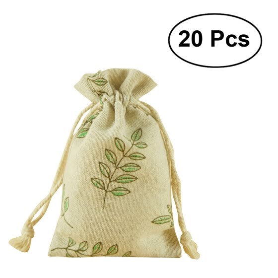 20pcs Multifunctional Small Linen Bags Burlap Drawstring Bag Gift Jewelry Pouch for Wedding Party 9 * 12cm (Green Olive