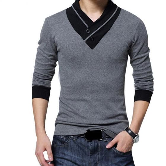 Spring Autumn Men V-neck T-shirt, Male Adults Fashionable Mixed Color Long Sleeve Button