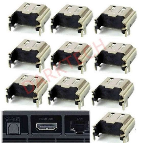 10 Pcs HDMI Port Socket Connector Replacement for Sony PlayStation 4 Console