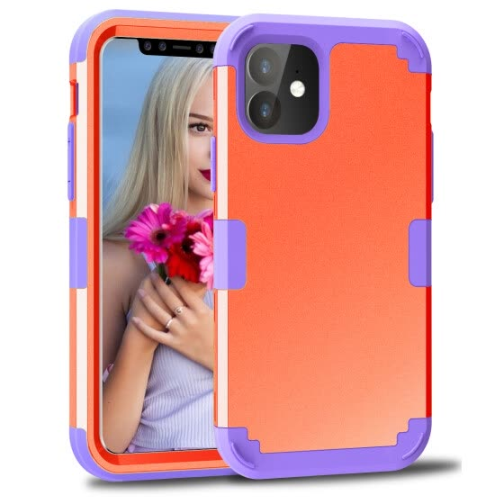 ZHOGTNEG iPhone 11 Case,3-in-1 Hybrid Design Coral Red/Purple