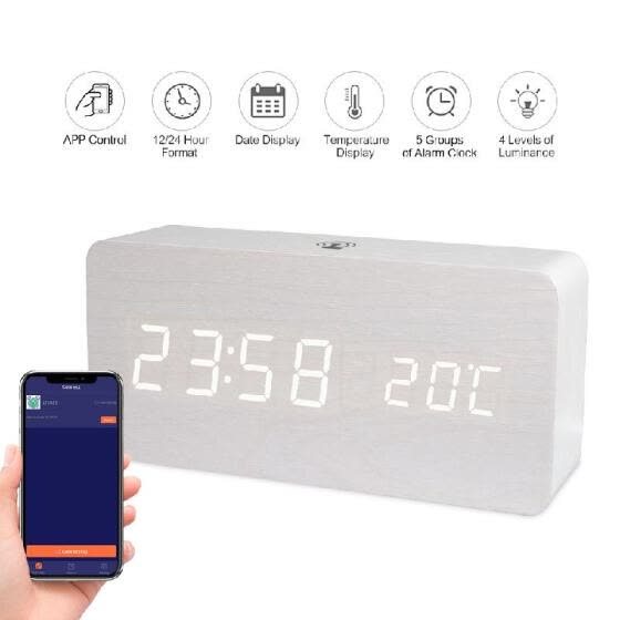 LED Digital Wooden Alarm Clock APP Control Time/ Temperature/ Date Display Electronic Desktop Clock 4 Levels Brightness Sound Cont