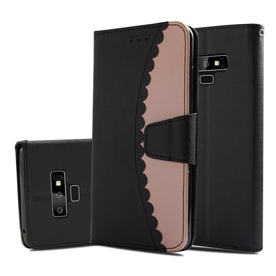Color Block Flip Wallet Case Leather Phone Cover Stand For Samsung Galaxy Note 9 Premium PU Leather Wallet Double Fold