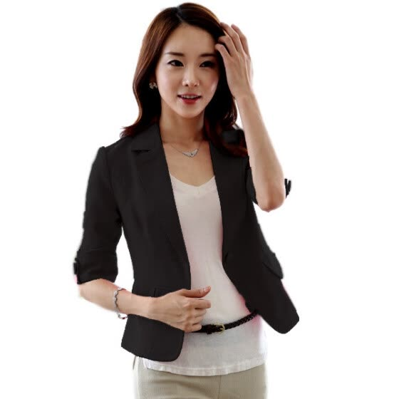ZR-Women Spring 3/4 Sleeve Button Short OL Office Suit Coat Jacket Outwear Tops S-XXL