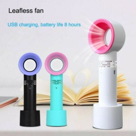 360 Degrees Portable Summer Mini Leafless Fan Handheld 3 Speed Adjustable USB Rechargeable Air Cooling Fan