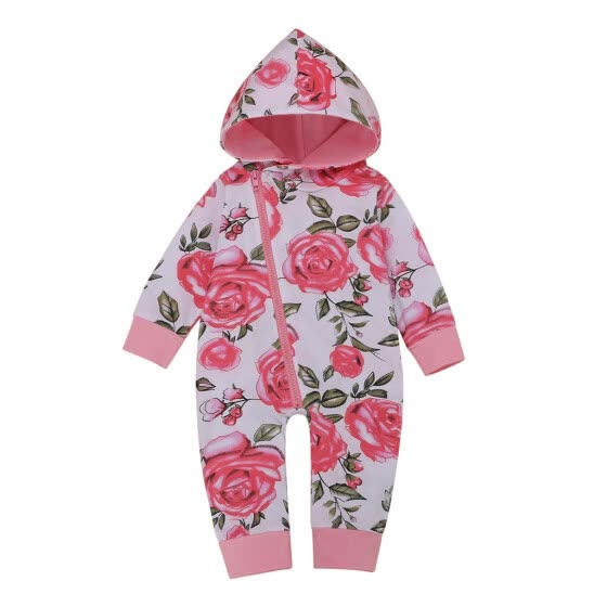 born Infant Baby Boy Girl Hooded Floral Jumpsuit Romper Playsuit Outfits