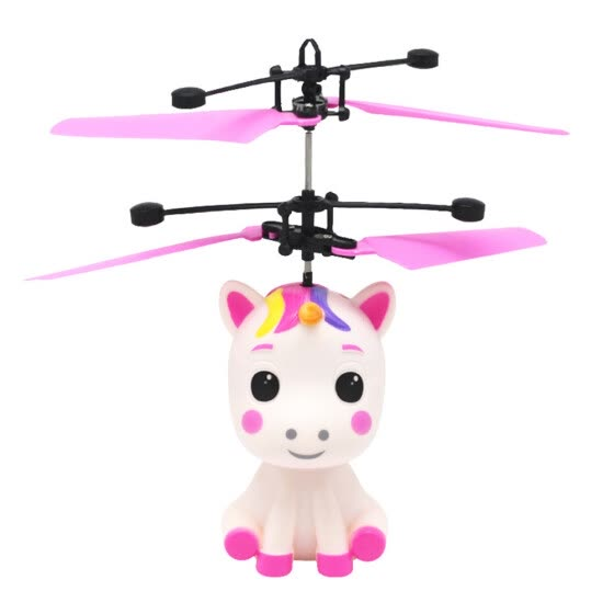 1pc Unicorn Design Flying Toy Gesture Induction Aircraft Toy Body Induction Toy USB Charging Toy for Kids Children (Red)