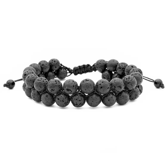 Men Women 8mm Lava Rock Chakra Double Beads Elastic Natural Stone Agate Bracelet