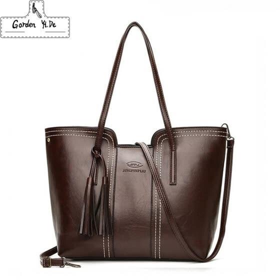 0a72ba27a9 Women PU Leather Handbags Large Capacity Tassel Tote Bags Female Vintage Bag  For Women Shoulder Bag