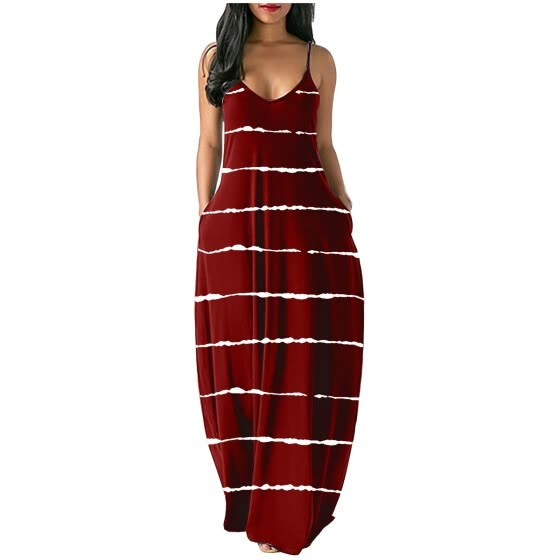 Women's Summer Casual Print V-Neck Sexy Sleeveless Dresses Long