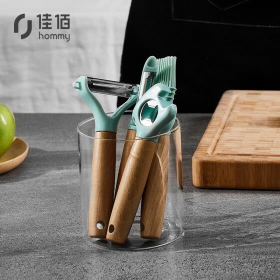Jiabai·Yuesheng kitchen tool 4-piece paring knife brush oil brush bottle opener can opener silicone brush*1+single-head paring knife*1+double-head paring knife*1+corkscrew*1