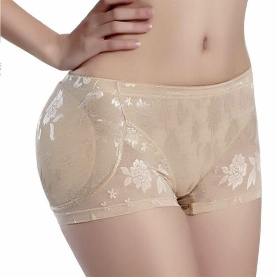 Women Lace Padded Seamless Padded Panty Butt Lifter Hip Enhancer Shaper Panties Underwear Color:Beige Size:3XL