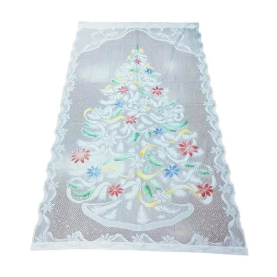 "NEW Christmas Themed Lace Curtain Rod Pocket Window Treatment Panel Holiday Decorations Polyester 40""W x 84""L"