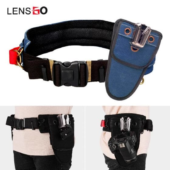 LENSGO UDK-22S Double Match Metal Waist Buckle Set Adjustable Waist Belt Strap with Removable Buckle Clips and Quick Releasing Pla