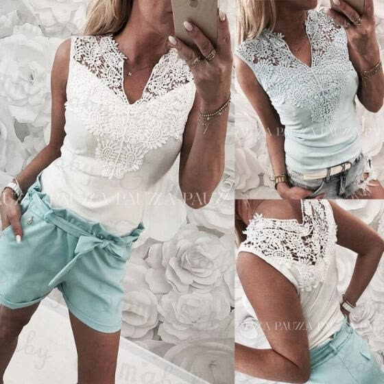 UK Summer Holiday Women Ladies Lace Sleeveless Vest T Shirt Casual Blouse Tops