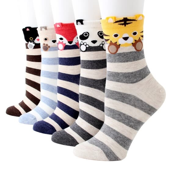 5 Pairs Girls Socks Cartoon Cute Cat Creative All-match Crew Socks Novelty Socks