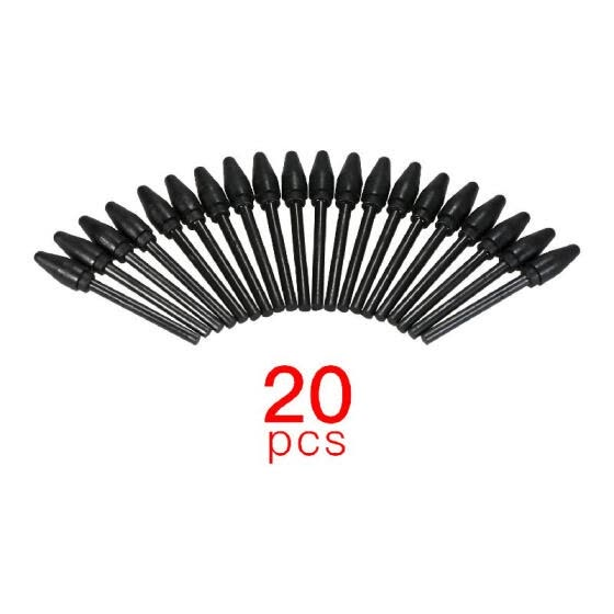 BOSTO 20pcs Replacement Nibs Pen Tips Compatible with All BOSTO Graphic Monitor Drawing Tablet Battery Stylus Black