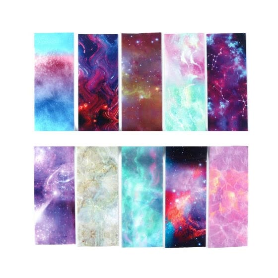 10pcs Nail Art Foil Stickers Gradient Starry Sky Nail Art Transfer Decals Manicure DIY Decoration