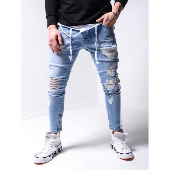 Men' s Jeans, Fashionable High Waist Ripped Trousers Close-Fitting Pants for Men, Light Blue/Gray