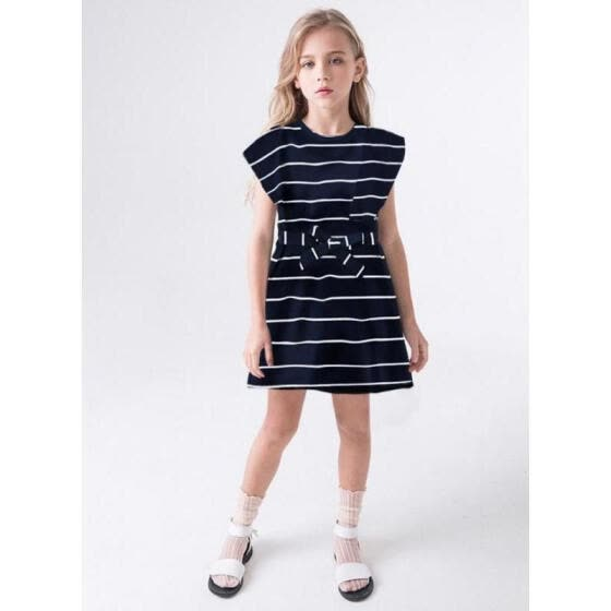 Kids Dress, Striped Round Neck Short Sleeve Dress One-Piece for Kids Girls, Navy Blue