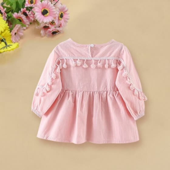 Long Sleeve Fashion Fringed Princess Dress Stitching Baby Girls Dress Children Princess Kids Clothes Dress vestir 2017