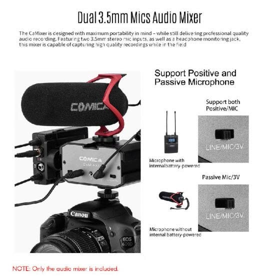 CoMica CVM-AX1 Audio Mixer Adapter Universal Dual Channel 3.5mm Port Mixer Support Real-time Monitoring Mono/Stereo Output Switch