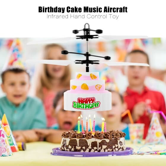 8018 Birthday Cake Music Helicopter Aircraft Infrared Hand Control Floating RC Drone Quadcopter Toy