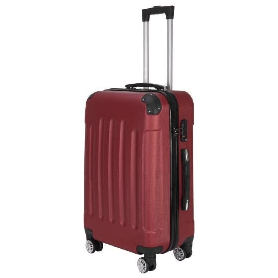 "3-in-1 Portable ABS Trolley Case 20"" / 24"" / 28"" Wine Red"