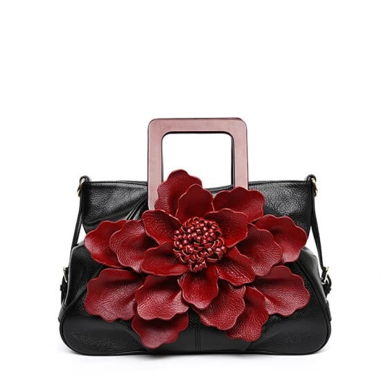 fe7445aaba213 SUWERER 2019 New women genuine leather bag Fashion Handmade dimensional  flowers top leather bag designer tote