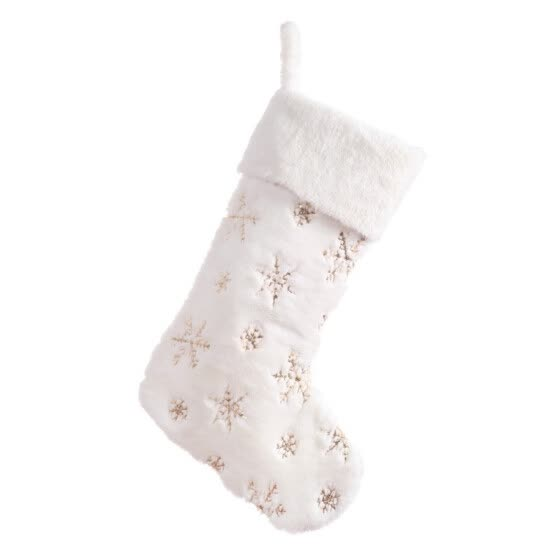 Snowflakes Embroidered White Plush Christmas Stockings Gifts Bag Hanging Loops Xmas Tree Fireplace Candy Socks