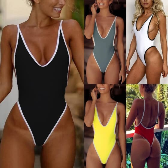9a3101cf23c New Sexy Women One-piece Swimsuit Plunge V Neck High Cut Thong Solid  Monokini Swimwear