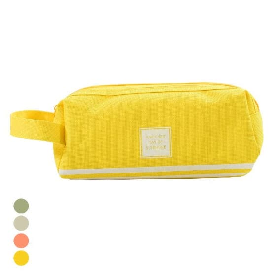 Large Capacity Canvas Pencil Case Pen Bag Makeup Pouch Stationary with Double Zipper for Office School Students