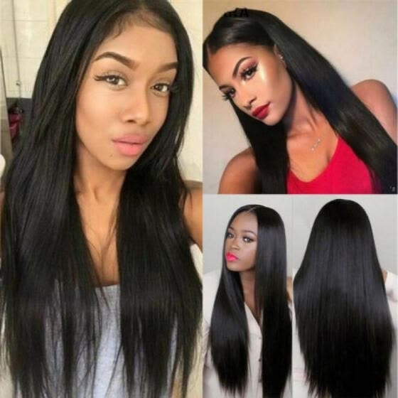 Natural Brazilian Virgin Full Sleek Hair Wigs Glueless Black Long Straight  Wigs