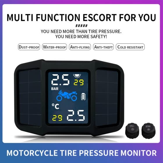 Motorcycle Tire Pressure Monitoring System TPMS Solar Power with 2 External Sensors Real-time Display Pressure Temperature