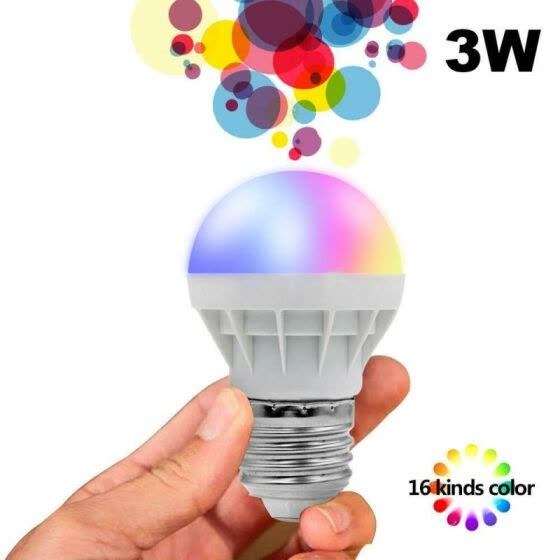 Energy-saving 16 Color Changing Magic Light E27 3W RGB LED Lamp Bulb Infrared Remote Control Light Bulb